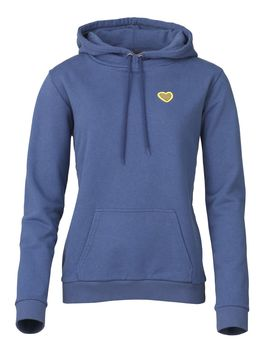 Sweat capuche femme heart badge slate blue