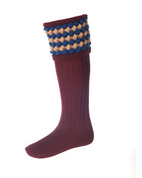 Chaussettes ANGUS burgundy + garters
