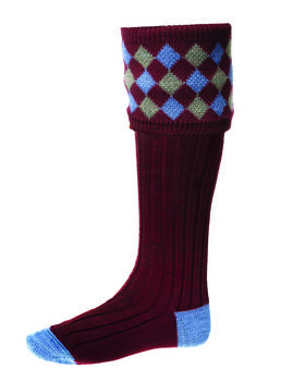 Chaussettes CHEQUERS burgundy + garters