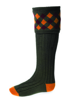 Chaussettes CHEQUERS spruce + garters