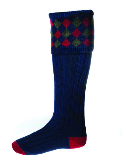 Chaussettes CHEQUERS navy + garters