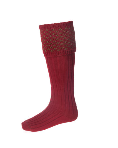 Chaussettes BOUGHTON brick red/moss + garters