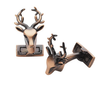 Copper stag head cufflink