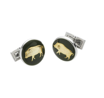 Wildboar green cufflink