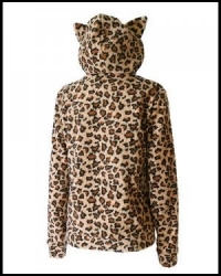 SWEAT SHIRT VESTE DARKSIDE CLOTHING Fur Natural Leopard Kitty Hood