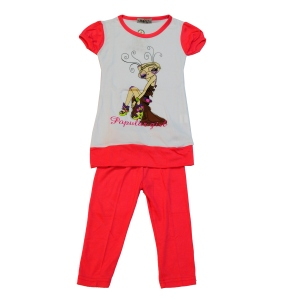 Ensemble fille avec t-shirt à motif et leggings