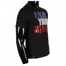 "T-shirt noir ""Enjoy Your Kerase"" avec sequins brillants"