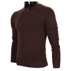 Pull manches longues col en V marron