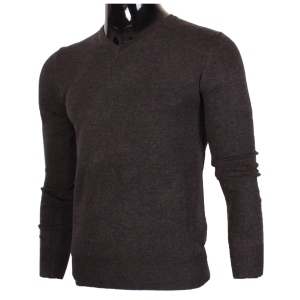 Pull manches longues col en V noir chine