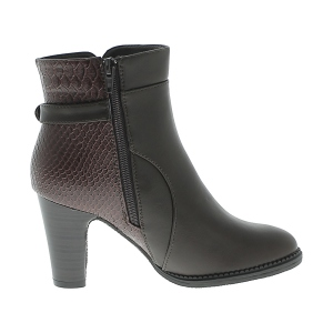Boots à talon en imitation reptile coloris marron