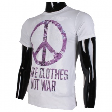 T-shirt col rond imprimé peace and love blanc
