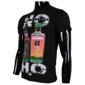 "T-shirt noir encolure ronde imprimé ""NO H2O"""