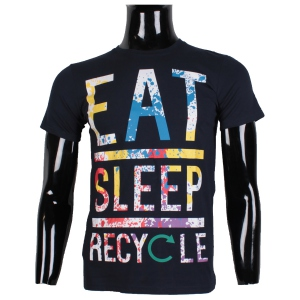 "T-shirt à col rond ""EAT SLEEP RECYCLE"" effet éclaboussure"