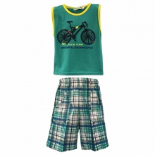 Ensemble short à carreaux +  t-shirt imprimé vélo