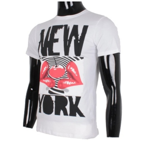 T-shirt homme à imprimé New York lips blanc