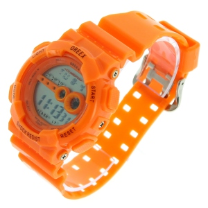Montre ronde LED avec bracelet en plastique orange