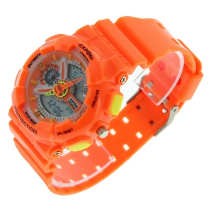 Montre LED ronde avec son large bracelet orange