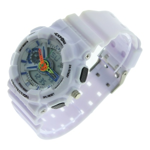 Montre LED ronde avec son large bracelet blanc