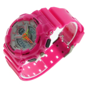 Montre LED ronde avec son large bracelet fuschia
