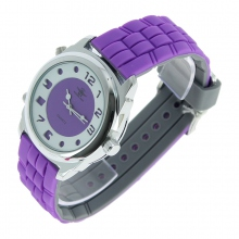 Montre à double face digital et quartz en violet