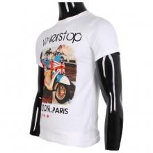 T-shirt blanc avec dessin scooter LONDON PARIS