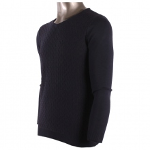 Pull manches longues avec col en V tricot marine