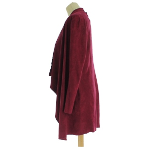 Gilet long en daim bordeaux à encolure cascade