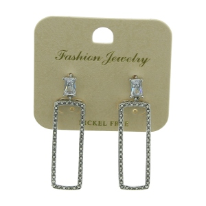 Assortiment de boucles d'oreilles rectangle strass