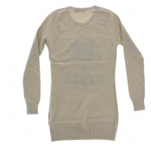Robe pull manches longues imprimé animal beige
