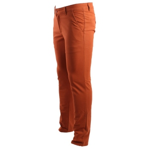 Pantalon chino coupe semi-slim coloris uni orange