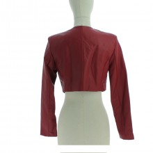 Gilet coupe courte style boléro manches longues rouge