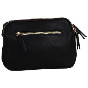 Sac zippé rectangle noir avec triple compartiment