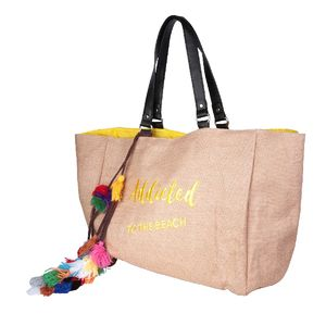 "Sac cabas ""Addicted to the beach"" jaune avec pompons"