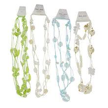 Assortiment collier sautoir multirangs perles en verre