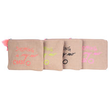 "Assortiment pochette en toile ""SHOPPING IS MY NOW CARDIO"""