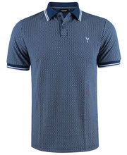 Polo coupe slim fit bleu à imprimé LABHY
