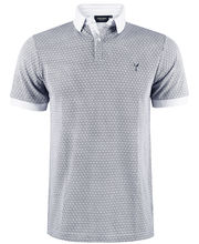 Polo 100% coton coupe slim fit en micro motif blanc