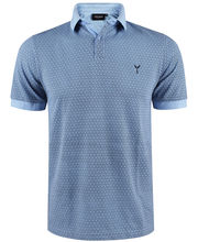 Polo 100% coton coupe slim fit en micro motif bleu
