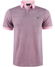 Polo 100% coton coupe slim fit en micro motif rose