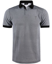 Polo 100% coton coupe slim fit en micro motif noir