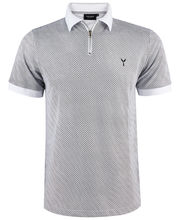 Polo col zippé 100% coton imprimé coupe slim fit blanc