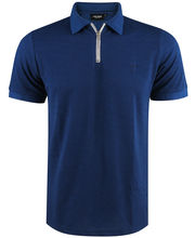 Polo col zippé 100% coton imprimé coupe slim fit bleu