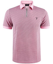 Polo col zippé 100% coton imprimé coupe slim fit rose