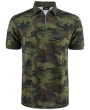 Polo col zippé 100% coton camouflage coupe slim fit