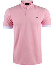 Polo à col mao pour homme en coupe slim fit uni rose