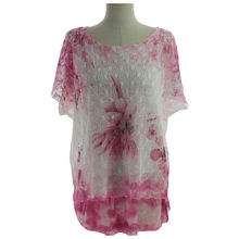 Top en col arrondi avec impression fantaisie fushia