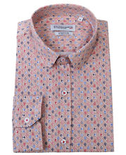 Chemise slim fit rose saumon à motif imprimé all over