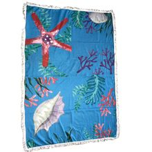 Serviette de plage rectangle avec imprimé fond marin