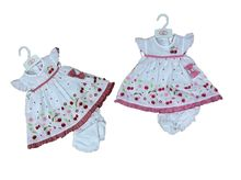 Ensemble bébé fille en cerise : Robe + Bloomer + Bandeau