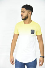 T-shirt en coton bas arrondi coloris dégradé jaune
